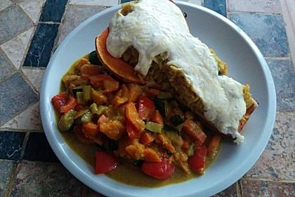 Baked Butternut mit Reis und Currygemüse 9