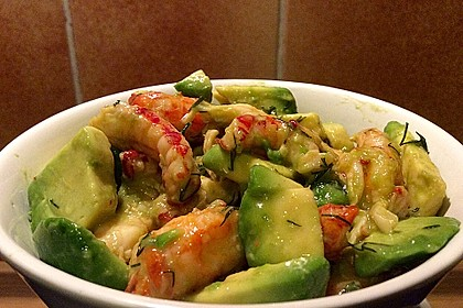 Avocado - Flusskrebs - Salat 1