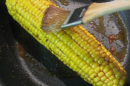 Maishähnchenbrust auf der Haut gebraten mit Orangenspitzkohl und Maisscheiben 3