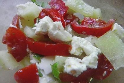 Tomaten - Melonen - Salat mit Ziegenkäse 2