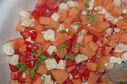 Tomaten - Melonen - Salat mit Ziegenkäse
