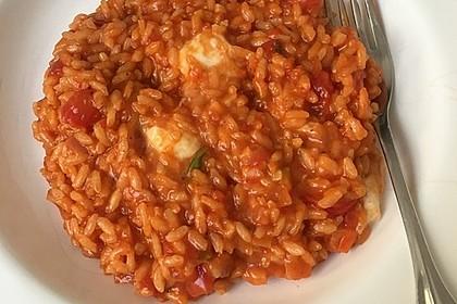 Tomaten - Basilikum - Risotto mit Mozzarella (Bild)