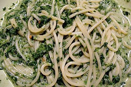 Spaghetti in Frischkäse - Spinat - Soße 5