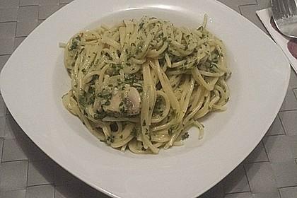 Spaghetti in Frischkäse - Spinat - Soße 1