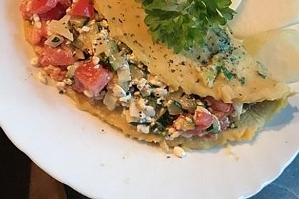 Sommerpfannkuchen mit Zucchini - Knoblauch - Frischkäse - Füllung 13