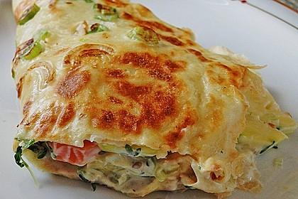 Sommerpfannkuchen mit Zucchini - Knoblauch - Frischkäse - Füllung 2