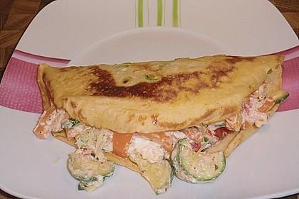 Sommerpfannkuchen mit Zucchini - Knoblauch - Frischkäse - Füllung 31
