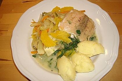Fischfilet mit Zitronenbuttersoße und Fenchel - Karotten - Orangen - Gemüse (Bild)