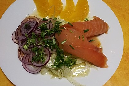 Fenchel - Orangen - Salat mit geräuchertem Lachs 3