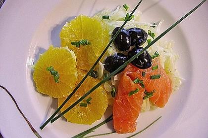 Fenchel - Orangen - Salat mit geräuchertem Lachs