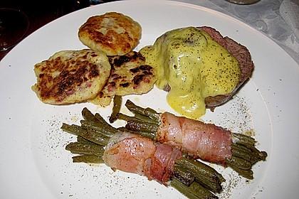 Chateaubriand mit Speckbohnen, Macaire - Kartoffeln und Sauce Béarnaise 14