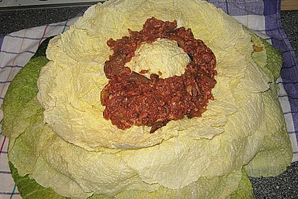 Gefüllter Wirsingkohlkopf mit Kartoffelpüree 1