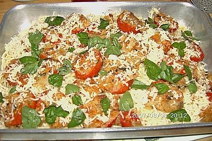 Spaghetti mit gratinierten Tomaten