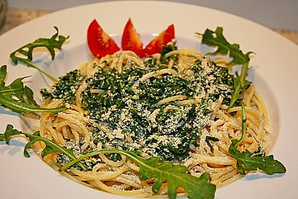 Spaghetti mit Rucola 2