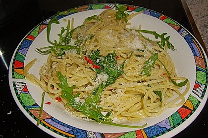 Spaghetti mit Rucola 3