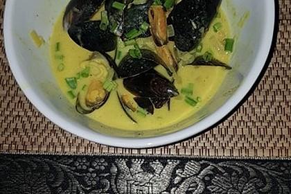 Miesmuscheln in Curry - Weißweinsahne 4