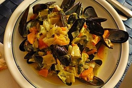 Miesmuscheln in Curry - Weißweinsahne 7