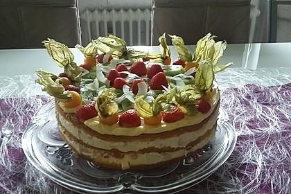Dessert - Kuchen / Torte aus Quark, Joghurt und Obst auf 3-schichtigem Biskuitboden 2