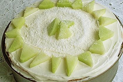 Dessert - Kuchen / Torte aus Quark, Joghurt und Obst auf 3-schichtigem Biskuitboden 3