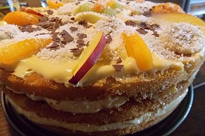 Dessert - Kuchen / Torte aus Quark, Joghurt und Obst auf 3-schichtigem Biskuitboden 4