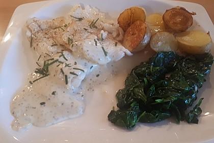 Seezungenfilets in beurre blanc mit weißen Champignons (Bild)