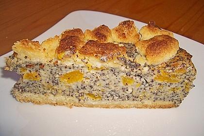 Mohn - Streusel  mit Pudding und Mandarinen