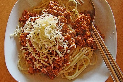 Spaghetti Bolognese vegetarisch, à la Strohhalm (Bild)