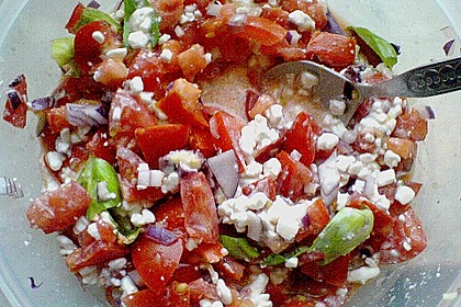 Tomatensalat mit körnigem Frischkäse 17