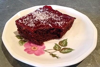 Kakao - Buttermilch - Blechkuchen mit Früchten 6