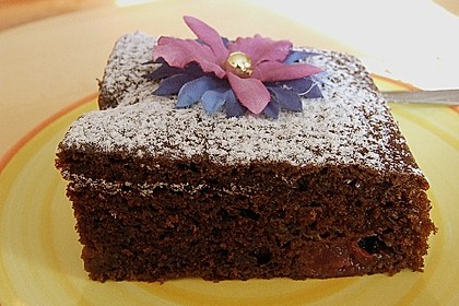 Kakao - Buttermilch - Blechkuchen mit Früchten 1