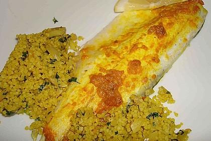 Wolfsbarsch mit Oliven - Mandel - Couscous