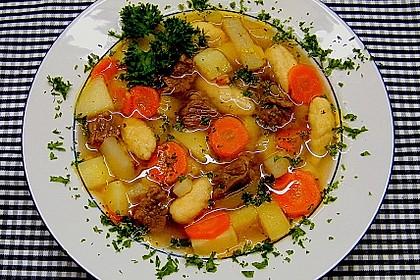 Deftige Kartoffelsuppe mit Klünkerle und Fleisch 1
