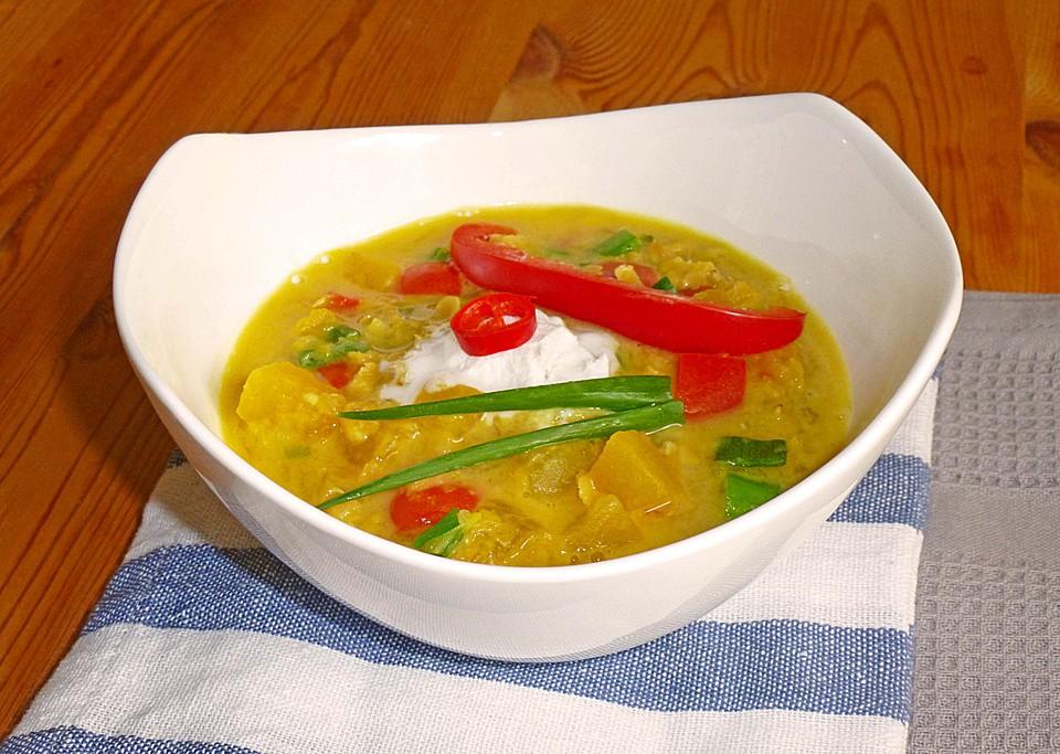 Kürbis - Kokos - Suppe mit roten Linsen von isaamherd | Chefkoch