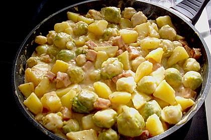 Rosenkohl - Kartoffel - Kasseler - Pfanne 4