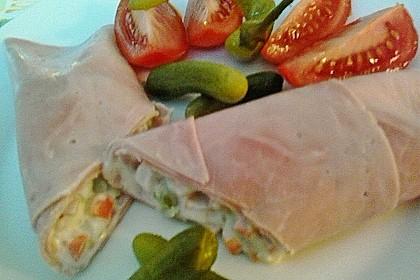 Schinkenrollen mit grünen Salat 1