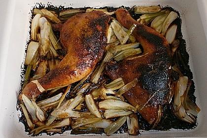 Hähnchenkeulen mit Mangochutney und Frühlingszwiebeln 3