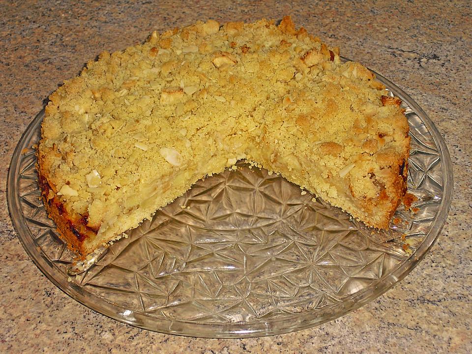 Apfelkuchen mit rührteig und streusel