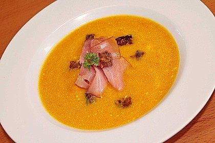 Möhren - Ingwer - Suppe mit Parmaschinken 2