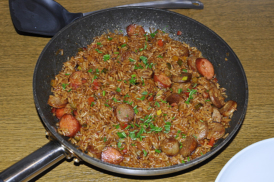 Schnelle Reispfanne mit Fleischwurst von Sivi | Chefkoch