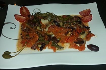 Seeteufel mit Tomaten, Kapern und Oliven 2