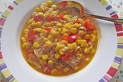 Maistopf mit Paprika und Thunfisch