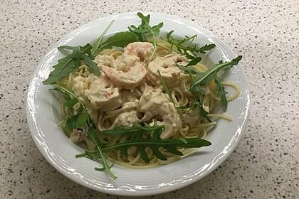 Scharfe Zitronenspaghetti mit Frischkäse und Garnelen 17