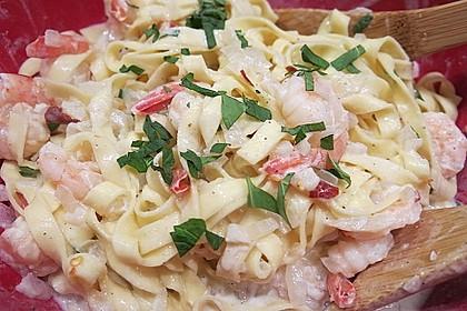 Scharfe Zitronenspaghetti mit Frischkäse und Garnelen 18