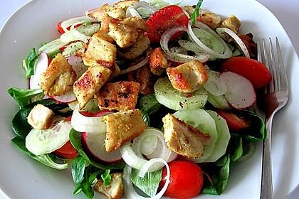 Salat mit  Hähnchenbruststreifen und Vanille - Dressing