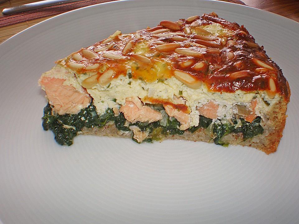Quiche Mit Lachs Spinat Und Pinienkernen Von Corela1 Chefkoch De