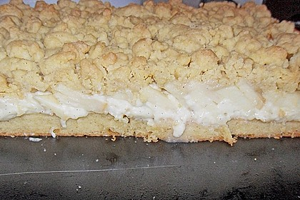 Apfelkuchen mit Vanillecreme und Streusel 4