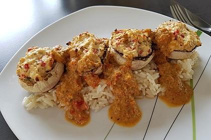 Vegetarisch gefüllte Champignons auf Reis 2