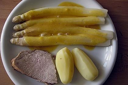 Spargel mit Sauce Hollandaise, neuen Kartoffeln und Kalbfleisch 4