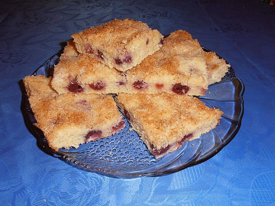 Buttermilch Kokos Kuchen Mit Kirschen