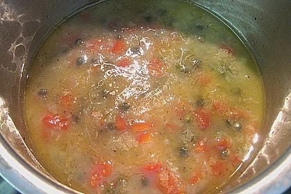Schellfischloin an Muschel - Kapern - Sauce mit geschmortem Gemüse